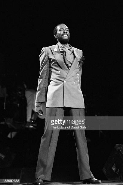 Soul singer Marvin Gaye pperforms live at radio City Music Hall in May 1983 in New York City New York