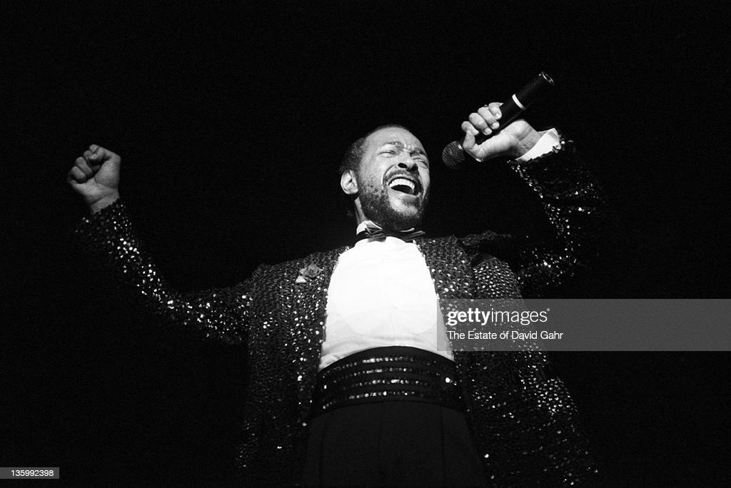 Soul singer <a gi-track='captionPersonalityLinkClicked' href=/galleries/search?phrase=Marvin+Gaye&family=editorial&specificpeople=789686 ng-click='$event.stopPropagation()'>Marvin Gaye</a> pperforms live at radio City Music Hall in May, 1983 in New York City, New York.