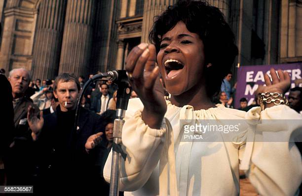 Soul singer PP Arnold performing at a CND Anti War Peace Demonstration London UK 1969