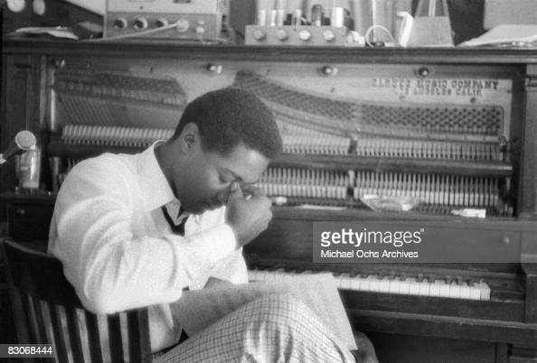 Soul singer Sam Cooke in a pensive moment at RCA recording studio circa 1960 in Los Angeles California