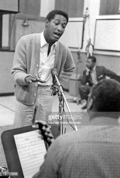 Soul singer Sam Cooke rehearses the band during a recording session on November 30 1960 in Los Angeles California
