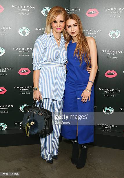 SoulaMarie Perdis and Lianna Perdis attend the launch of 'Total Bae' for Napoleon Perdis on April 28 2016 in Sydney Australia