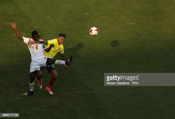 Souleymane Aw of Senegal and Joao Rojas of Ecuador compete for the ball during the FIFA U20 World Cup Korea Republic 2017 group F match between...