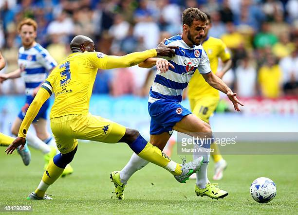 Souleymane Bamba of Leeds United tackles Orlando Sa of Reading during the Sky Bet Championship match between Reading and Leeds United at Madejski...
