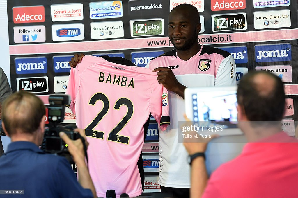 Souleymane Bamba poses during his presentation as new player of US Citta di Palermo at Tenente Carmelo Onorato sport centre on August 26 2014 in...