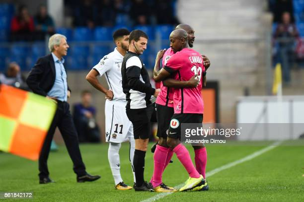 Souleymane Camara and Giovanni Sio of Montpellier during the Ligue 1 match between Montpellier Herault SC and OGC Nice at Stade de la Mosson on...