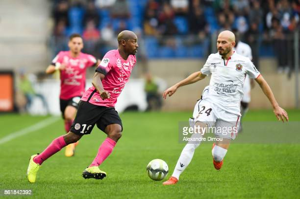 Souleymane Camara of Montpellier and Christophe Jallet of Nice during the Ligue 1 match between Montpellier Herault SC and OGC Nice at Stade de la...