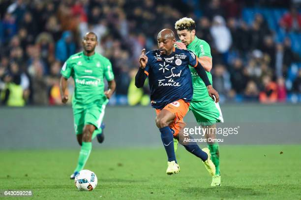 Souleymane Camara of Montpellier and Kevin Malcuit of Saint Etienne during the French Ligue 1 match between Montpellier and Saint Etienne at Stade de...