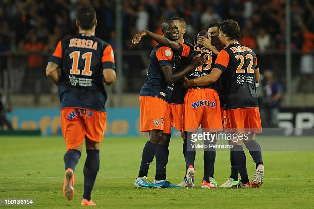 Souleymane Camara of Montpellier Herault SC celebrates with teammates after scoring during the Ligue 1 match between Montpellier Herault SC and...