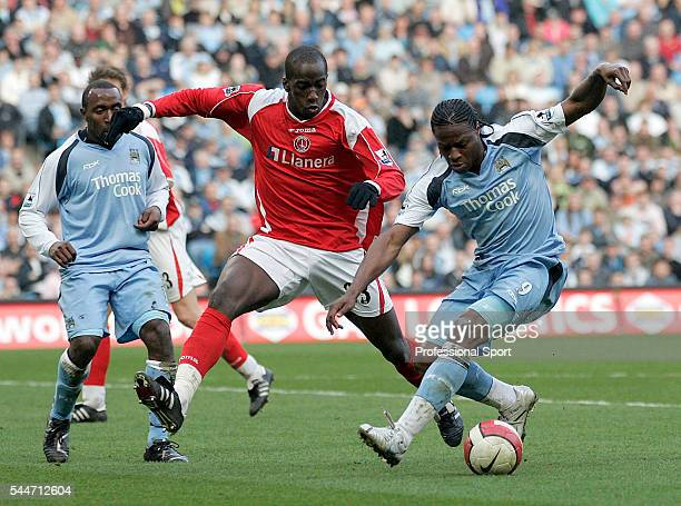 Souleymane Diawara of Charlton Athletic and Darius Vassell and Emile Mpenza of Manchester City in action during the FA Premier League match between...