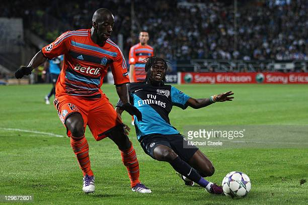Souleymane Diawara of Marseille and Gervinho of Arsenal during the UEFA Champions League Group F match between Olympique de Marseille and Arsenal FC...