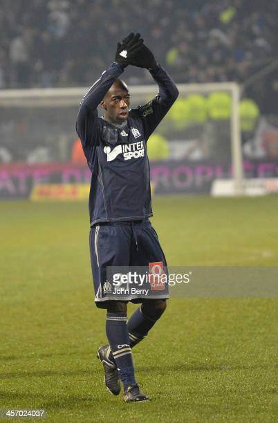 Souleymane Diawara of Marseille thanks his supporters after the french Ligue 1 match between Olympique Lyonnais OL and Olympique de Marseille OM at...