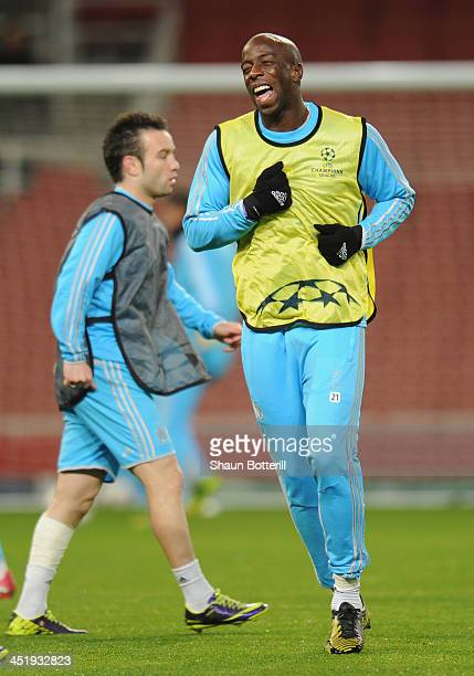 Souleymane Diawara of Olympic de Marseille warms up during a training session at Emirates Stadium on November 25 2013 in London England