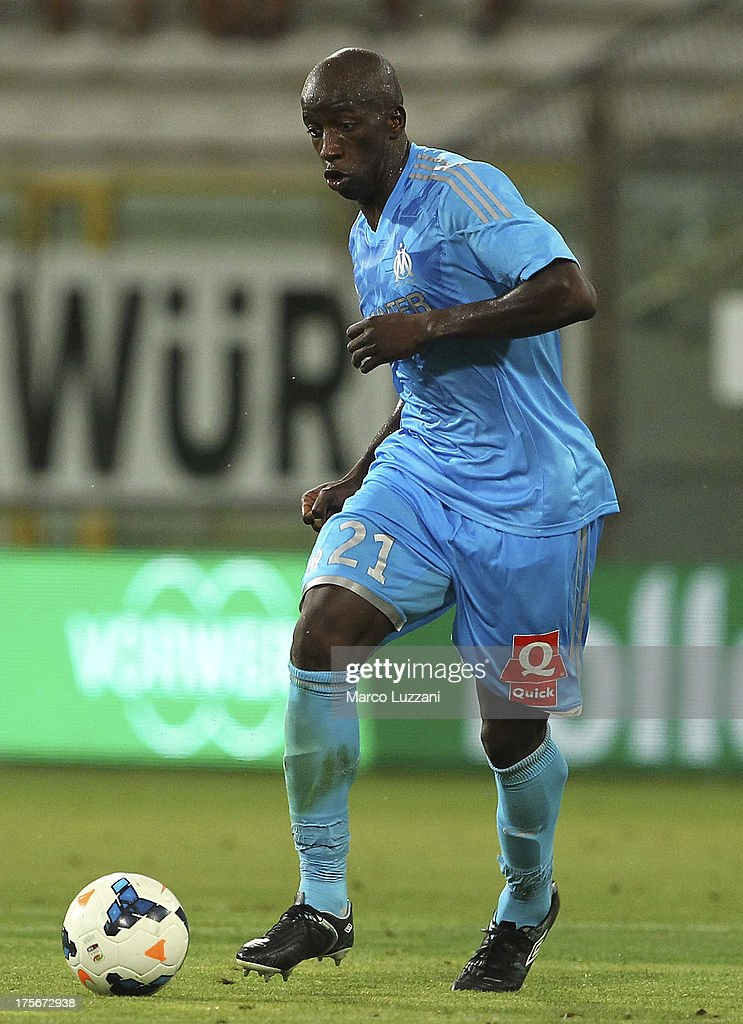 <a gi-track='captionPersonalityLinkClicked' href=/galleries/search?phrase=Souleymane+Diawara&family=editorial&specificpeople=695613 ng-click='$event.stopPropagation()'>Souleymane Diawara</a> of Olympique de Marseille in action during the pre-season friendly match between Parma FC and Olympique de Marseille at Stadio Ennio Tardini on July 31, 2013 in Parma, Italy.