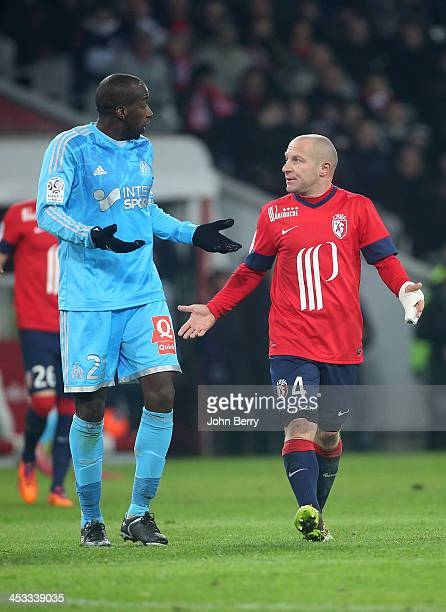 Souleymane Diawara of OM and Florent Balmont of Lille in action during the French Ligue 1 match between Lille OSC and Olympique de Marseille OM at...