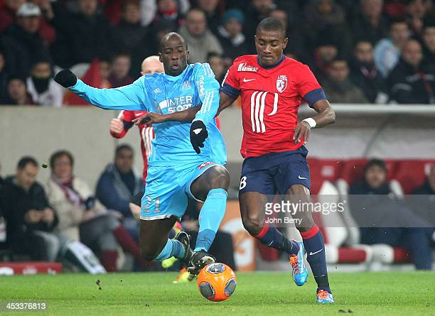 Souleymane Diawara of OM and Salomon Kalou of Lille in action during the French Ligue 1 match between Lille OSC and Olympique de Marseille OM at the...