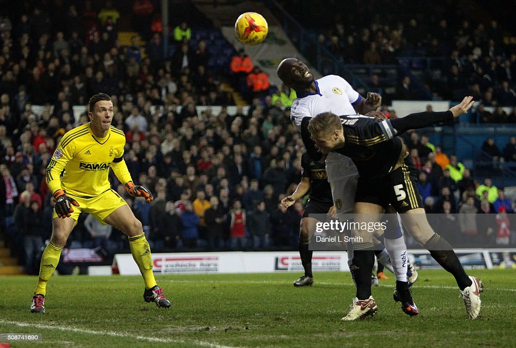 Souleymane Doukara of Leeds United FC attempts to head aT goal during the Sky Bet Championship match between Leeds United and Nottingham Forest on February 6, 2016 in Leeds, United Kingdom.