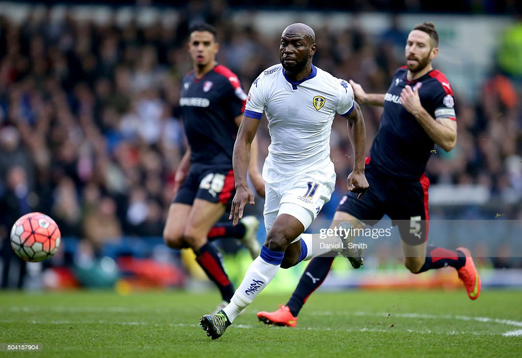 Souleymane Doukara of Leeds United FC chases down the ball during The Emirates FA Cup Third Round match between Leeds United and Rotherham United at Elland Road on January 9, 2016 in Leeds, England.