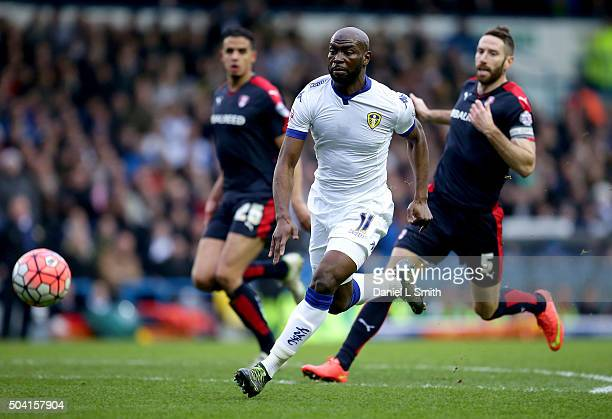 Souleymane Doukara of Leeds United FC chases down the ball during The Emirates FA Cup Third Round match between Leeds United and Rotherham United at...