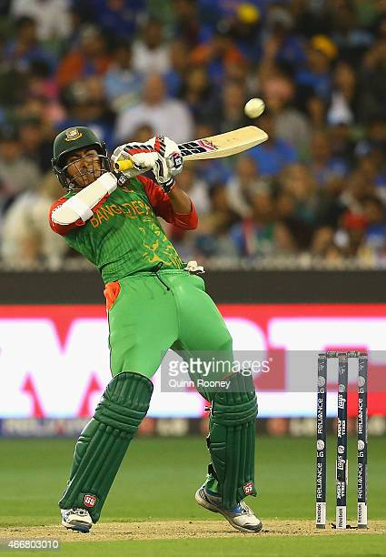 Soumya Sarkar of Bangladesh bats during the 2015 ICC Cricket World Cup Quater Final match between India and Bangldesh at Melbourne Cricket Ground on...
