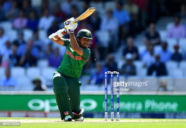 Soumya Sarkar of Bangladesh bats during the ICC Champions Trophy Group A match between England and Bangladesh at The Kia Oval on June 1 2017 in...