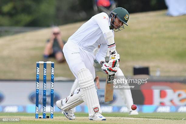 Soumya Sarkar of Bangladesh batting during day one of the Second Test match between New Zealand and Bangladesh at Hagley Oval on January 20 2017 in...