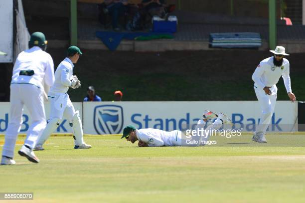 Soumya Sarkar of Bangladesh caught by Faf du Plessis of the Proteas during day 3 of the 2nd Sunfoil Test match between South Africa and Bangladesh at...