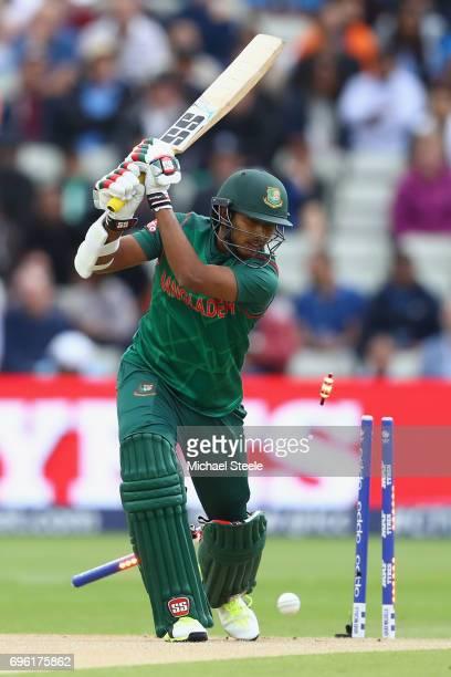 Soumya Sarkar of Bangladesh is bowled by Bhuvneshwar Kumar of India during the ICC Champions Trophy SemiFinal match between Bangladesh and India at...
