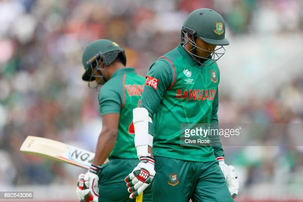 Soumya Sarkar of Bangladesh leaves the field after being dismissed during the ICC Champions trophy cricket match between Australia and Bangladesh at...