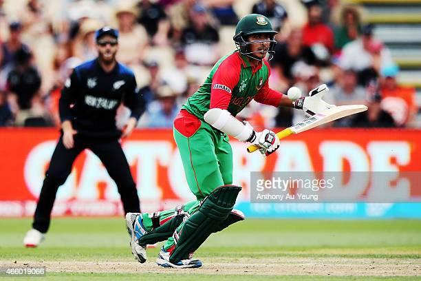 Soumya Sarkar of Bangladesh makes his run during the 2015 ICC Cricket World Cup match between Bangladesh and New Zealand at Seddon Park on March 13...