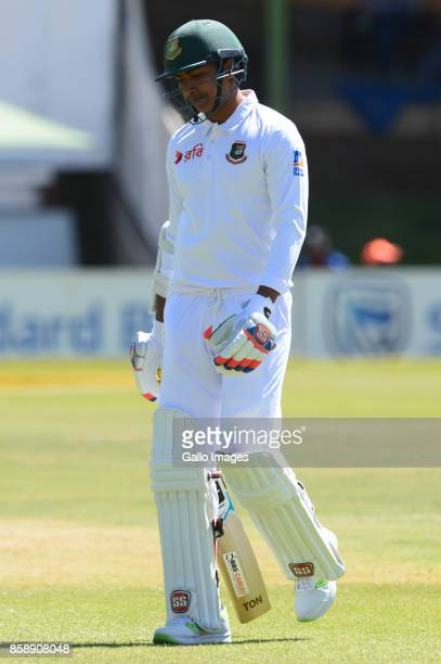 Soumya Sarkar of Bangladesh out for 3 runs during day 3 of the 2nd Sunfoil Test match between South Africa and Bangladesh at Mangaung Oval on October...