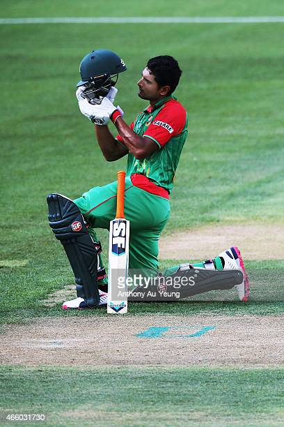 Soumya Sarkar of Bangladesh takes a breather during the 2015 ICC Cricket World Cup match between Bangladesh and New Zealand at Seddon Park on March...