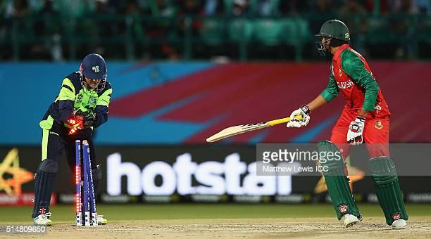 Soumya Sarker of Bangladesh is stumped Niall O'Brien of Ireland during the ICC World Twenty20 India 2016 match between Bangladesh and Ireland at the...