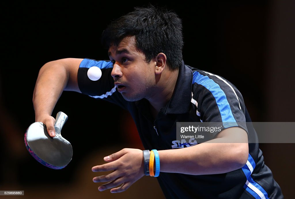 Soumyajit Ghosh of India in action during the Men's Singles Challenge against Jung Yougsik of Korea during day two of the Nakheel Table Tennis Asian Cup 2016 at Dubai World Trade Centre on April 29, 2016 in Dubai, United Arab Emirates.