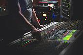 Live music venue with a sound board