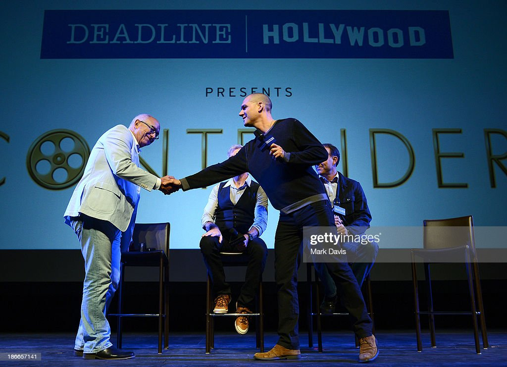 Sound designer <a gi-track='captionPersonalityLinkClicked' href=/galleries/search?phrase=Randy+Thom&family=editorial&specificpeople=2547826 ng-click='$event.stopPropagation()'>Randy Thom</a> of DreamWorks Animation (L) and moderator Dominic Patten speak onstage during Deadline Hollywood's The Contenders on November 2, 2013 in Beverly Hills, California.