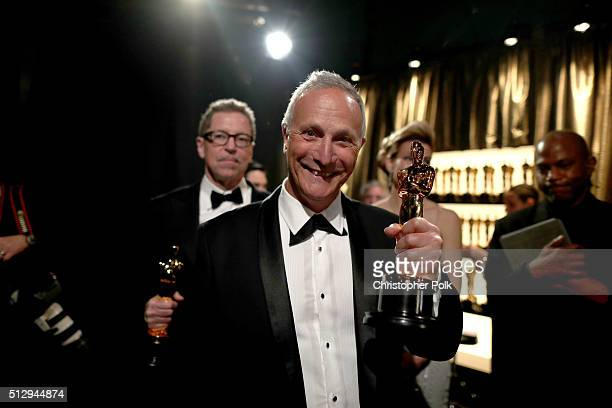 Sound editor Ben Osmo winner of Best Sound Mixing for 'Mad Mad Road Fury' backstage at the 88th Annual Academy Awards at Dolby Theatre on February 28...