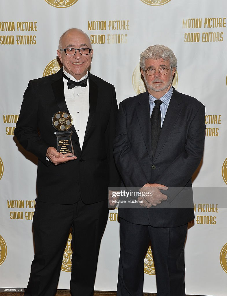 Sound Editor Randy Thom and director George Lucas attend the 61st Motion Picture Sound Editors Golden Reel Awards at the Westin Bonaventure Hotel on...