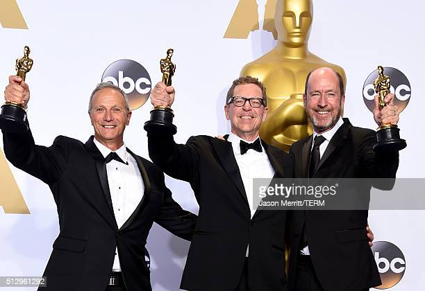 Sound editors Ben Osmo Gregg Rudloff and Chris Jenkins winners of Best Sound Mixing for 'Mad Mad Road Fury' pose in the press room during the 88th...