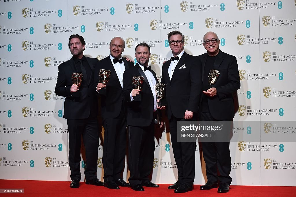 Sound editors Chris Duesterdiek Martin Hernandez Frank A Montaño Jon Taylor and Randy Thom pose with their awards for sound for their work on the...
