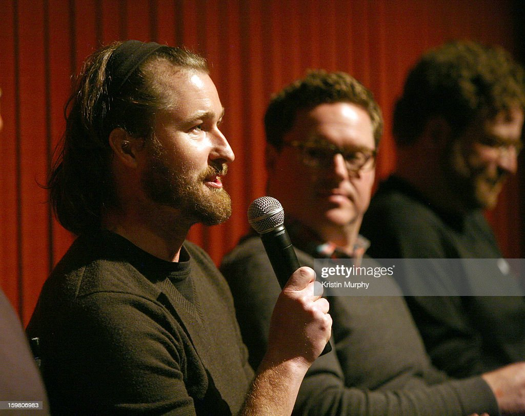 Sound Editors Erik Aadahl and Will Files speak onstage during the Dolby Laboratories Presentation at Holiday Village Cinema VI during the 2013 Sundance Film Festival on January 20, 2013 in Park City, Utah.