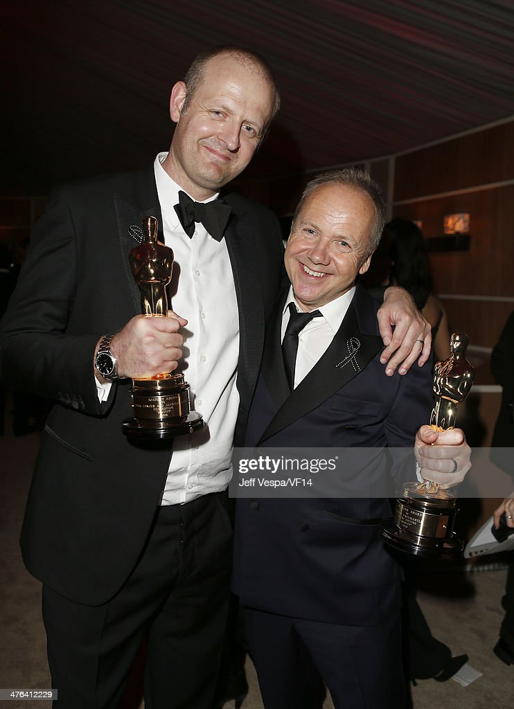 Sound editors Mark Sanger (L) and Glenn Freemantle attend the 2014 Vanity Fair Oscar Party Hosted By Graydon Carter on March 2, 2014 in West Hollywood, California.