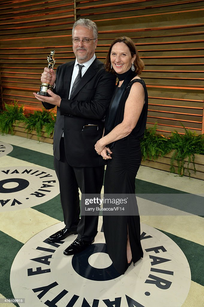 Sound editors Skip Lievsay holds his Academy Award as he attends the 2014 Vanity Fair Oscar Party Hosted By Graydon Carter on March 2, 2014 in West Hollywood, California.