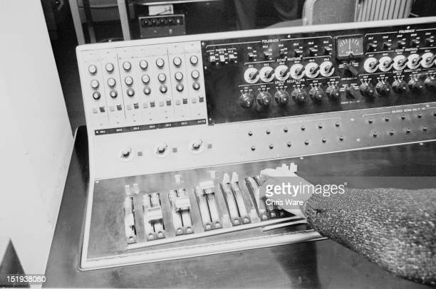 Sound engineer Dick Mills adjusting one of the machines at the BBC Radiophonic Workshop at the BBC's Maida Vale studios London 22nd March 1969