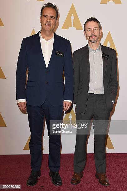 Sound engineers Christopher Scarabosio and Stuart Wilson attend the 88th Annual Academy Awards nominee luncheon on February 8 2016 in Beverly Hills...