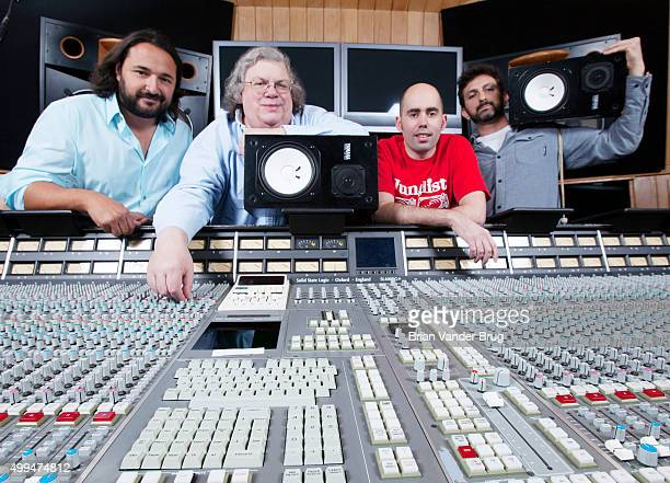 Sound engineers on Daft Punk's 'Random Access Memories' Daniel Lerner Florian Lagatta Mick Guzauski Peter Franco are photographed for Los Angeles...