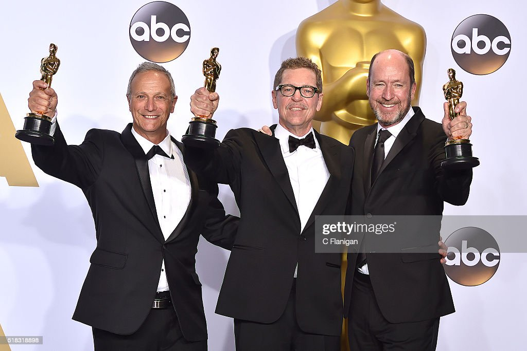 Sound mixers Ben Osmo, Greg Rudloff and Chris Jenkins, winners of the Best Sound Mixing award for 'Mad Max: Fury Road,' pose in the press room during the 88th Annual Academy Awards at Loews Hollywood Hotel on February 28, 2016 in Hollywood, California.