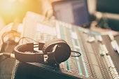 sound music mixer with headphone morning scene