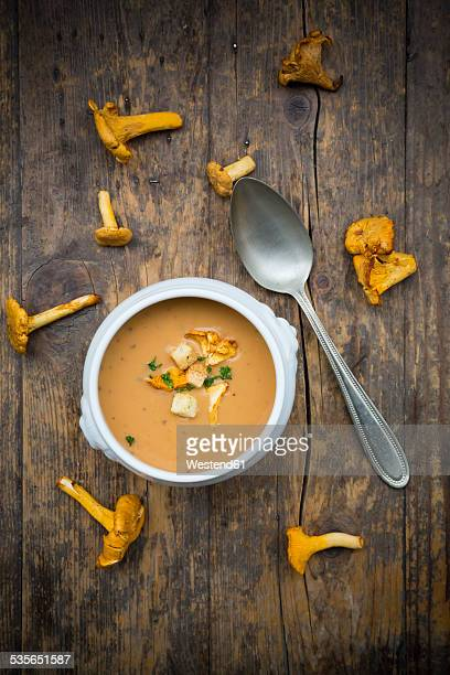Soup bowl of cream of chanterelle soup, spoon and chanterelles on dark wood