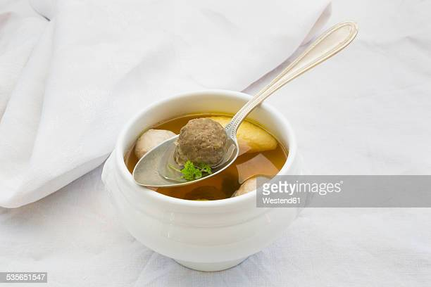 Soup bowl of Swabian Wedding soup on white cloth